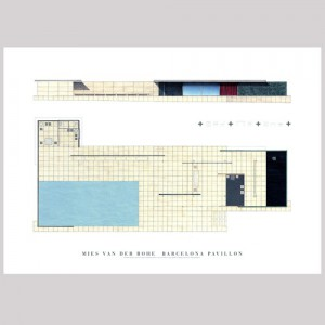 MIES VAN DER ROHE PAVILION DRAWING POSTER
